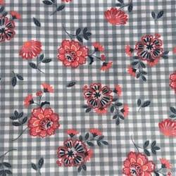 Tissu Fleur Rose orange à Carreaux x10cm