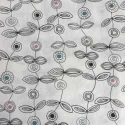 Tissu Fleur Graphique Noir/Blanc x10cm