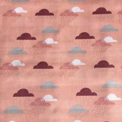 Tissu Pluie de Nuages Rose x10cm