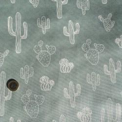Tissu Canvas Cactus Mint x10cm