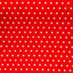 Tissu Popeline Etoile Rouge x10cm