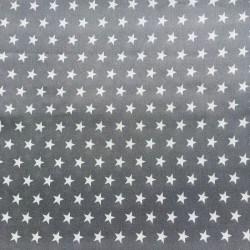Tissu Popeline Etoile Gris x10cm