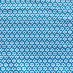 Tissu Popeline Fleur Turquoise x10cm