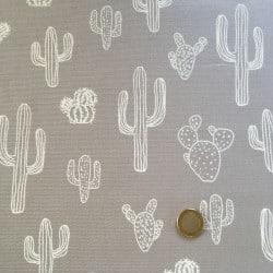 Tissu Canvas Cactus Gris x10cm