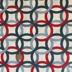 Tissu Canvas Cercle Carré Bleu et Rouge x10cm