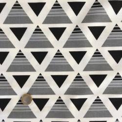 Tissu Canvas Triangle Noir et Gris x10cm