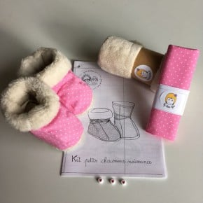 Kit à coudre Chaussons Roses Taille 0-6mois