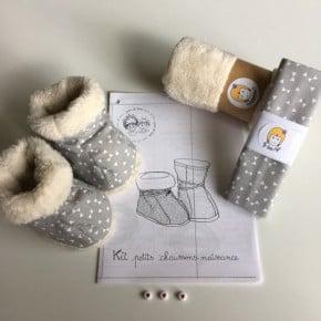 Kit à coudre Chaussons gris Taille 0-6mois