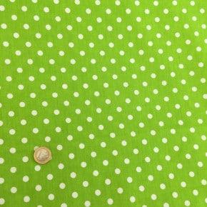 Tissu Popeline Pois Vert Pomme  x10cm