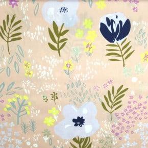 Tissu Popeline crafted nature fleurs rose doré x10cm
