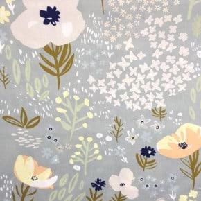 Tissu Popeline crafted nature fleurs gris x10cm