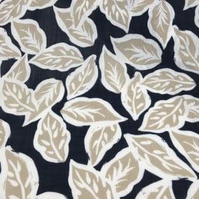 Tissu Rayonne imprimé Feuillage Marine x10cm