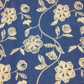 Tissu Jean Denim brodé  x 10cm