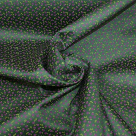 Tissu Popeline Satiné Fleurs Vert x10cm