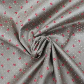 Tissu Popeline Satiné Fleurs Beige x10cm