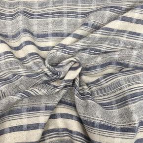 Tissu Coton et Lin Bleu Bali x10cm