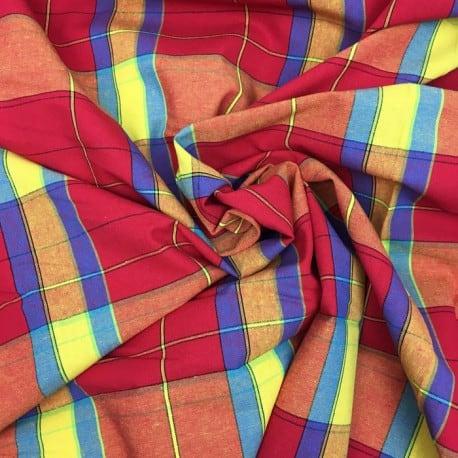 Tissu Madras Rouge x10cm