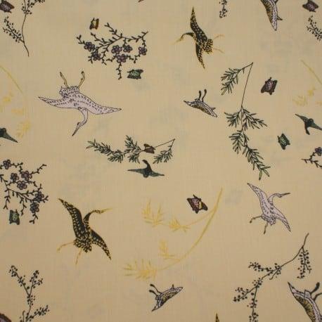 Tissu Popeline Oiseaux Sauvages rose poudré x10cm