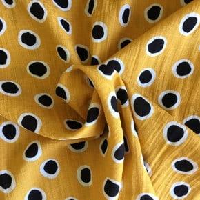 Tissu Rayonne Jaune Gros Pois noir x10cm