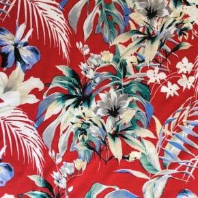 Tissu Viscose Jardin Rouge x10cm