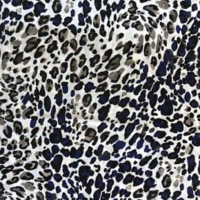 Tissu Viscose Léopard Bleu et noir  x10cm