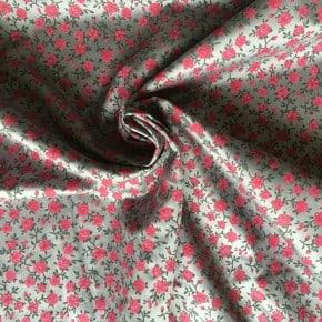Tissu Popeline Satiné Fleurs Gris x10cm