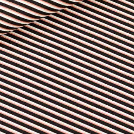 Toile de Coton Gabardine Diagonals Noir Blanc Et cuivvre See You At Six x10cm
