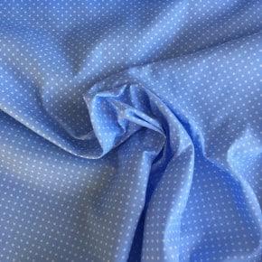 Tissu Popeline Petit Pois Bleu ciel  x10cm
