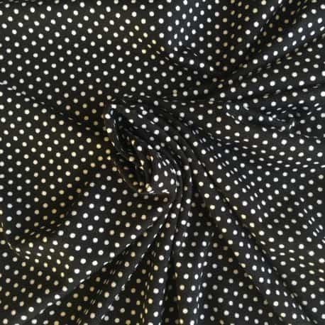 Tissu Jersey Viscose à Pois noir et blanc x10cm