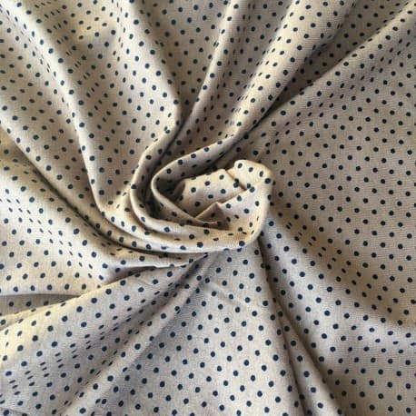 Tissu Jersey Viscose à Pois Camel et Marine x10cm