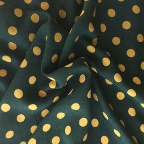 Tissu Viscose Kaki Pois Jaune  x10cm