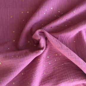 Double Gaze de coton Rose Etoile Or x 10cm