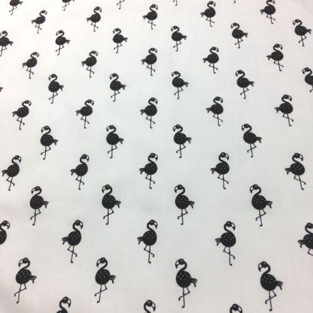 Popeline Flamant Noir x 10cm