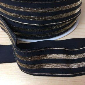 Elastique Noir Rayures Lurex Or 30mm x 50cm
