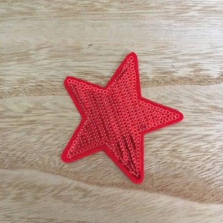 Ecusson Thermocollant Etoile Sequin Rouge