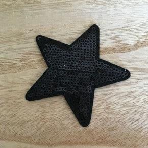 Ecusson Thermocollant Etoile Sequin Noir