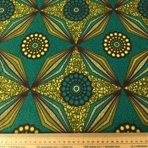 Tissu Wax Mombasa vert x 10cm