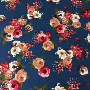 Tissu crêpe de Viscose Romantique Indigo x10cm