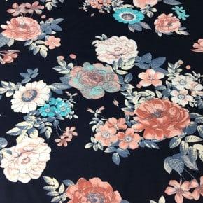 Jersey Coton Suzy Flowers Navy x10cm