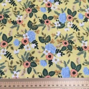 Tissu Coton Cotton+Steel Primavera Fond jaune x10cm