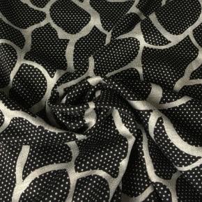 Tissu Viscose Noir Impression Flaque x10cm