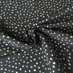 Tissu Bengaline Noir Point Blanc x10cm