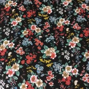 Tissu crêpe de Viscose La Charmante  noir x10cm