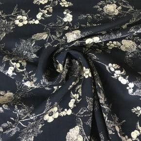 Tissu Viscose Fleur du Japon Marine x10cm