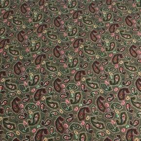 Tissu Jersey Paisley Vert Foncé  x10cm