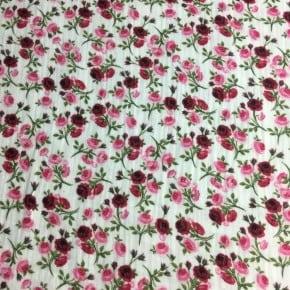 Double Gaze de coton Oeko Tex Fleur de Rose x 10cm