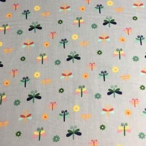 Popeline Coton Oeko Tex Papillon Gris Clair x10cm