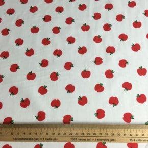 Popeline Coton Pomme Rouge Oeko Tex x 10cm