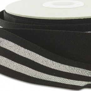 Elastique Noir Rayures Lurex Argent 38mm x 50cm