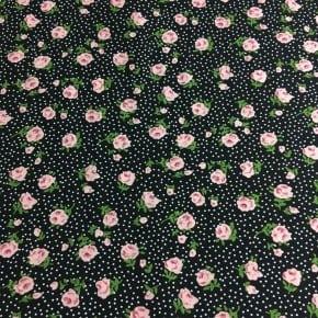 Tissu Viscose Janie Noir x10cm